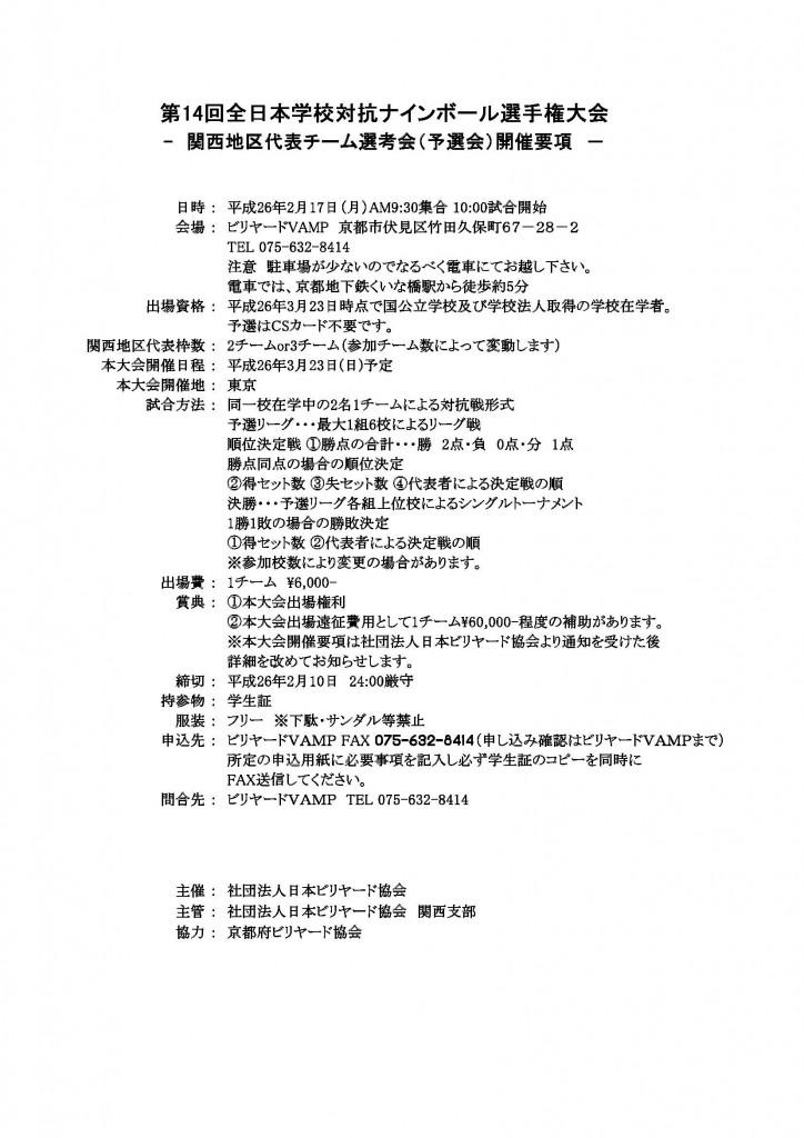 第14回全日本学校対抗ナインボール選手権大会